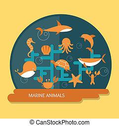 animais marinhos, proteção, e, conservação