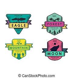 animais, modelos, vetorial, jogo, logotipo, floresta