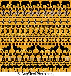 animais, motives, africano
