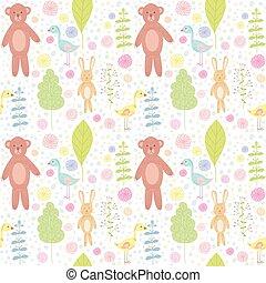 animais, pattern., floresta, seamless