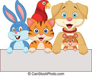 animais, segurando, caricatura, p, animal estimação, em branco