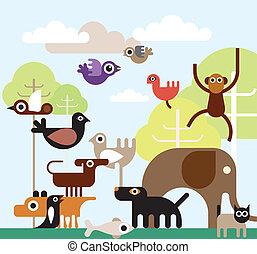 animais, selva