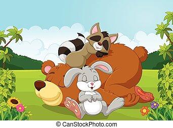 animais selvagens, caricatura, dormir