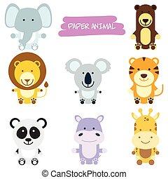animais selvagens, caricatura, ilustração