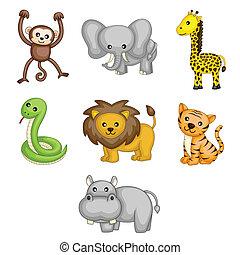 animais selvagens, caricatura