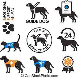 animais, serviço, apoio, emblemas, emocional, cachorros