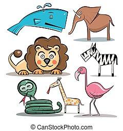 animais, set., vetorial, animal jardim zoológico, isolado, branco, experiência.