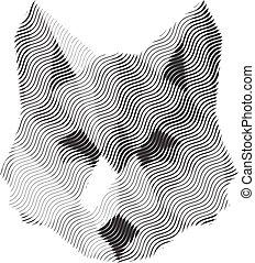 animais, sinal, illyustrat, vetorial, lobo, gravado