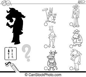 animais tingem, fantasia, jogo, livro, sombra