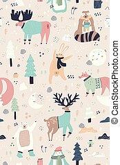animais tingem, padrão, bosque, seamless, mão, desenhado