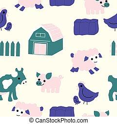 animais, verde, fazenda, roxo, cor-de-rosa