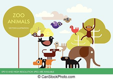 animais, vetorial, desenho, modelo, jardim zoológico
