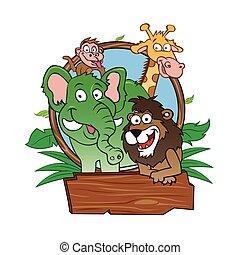 animais, vetorial, -, jardim zoológico, ilustração