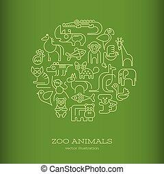 animais, vetorial, verde, redondo, ilustração