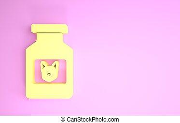animal., ícone, 3d, pills., garrafa, render, minimalism, isolado, cão, amarela, ilustração, concept., experiência., recipiente, medicina prescrição, cor-de-rosa