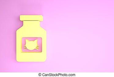 animal., ícone, 3d, pills., garrafa, render, minimalism, isolado, gato, amarela, ilustração, concept., experiência., recipiente, medicina prescrição, cor-de-rosa