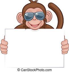 animal, óculos de sol, segurando, sinal, macaco, caricatura