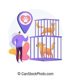 animal, abri, illustration., concept, résumé, vecteur
