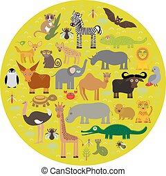 Animal Africa parrot Hyena Rhinoceros Zebra Hippopotamus Crocodile Turtle Elephant Mamba snake camel mosquito tsetse ostrich lemur Chameleon Monkey Fennec fox Leo Leopard Giraffe buffalo Penguin. Vector