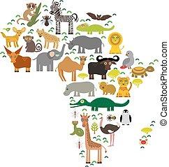 Animal Africa: parrot Hyena Rhinoceros Zebra Hippopotamus Crocodile Turtle Elephant Mamba snake camel mosquito tsetse ostrich lemur Chameleon Monkey Fennec fox Leo Leopard Giraffe buffalo Penguin. Vector