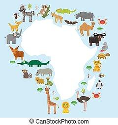 Animal Africa: parrot Hyena Rhinoceros Zebra Hippopotamus...