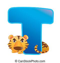 animal, alfabeto, t