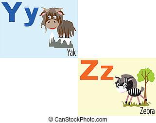 animal, alfabeto, y,