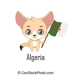 animal, algérie, national, renard, drapeau, tenue, fennec