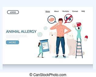 Animal allergy vector website landing page design template -...