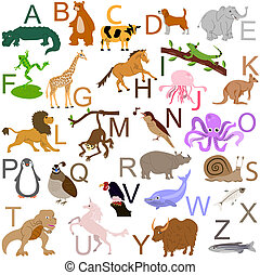 Animal alphabet - 26 animals of the alphabet, eps8