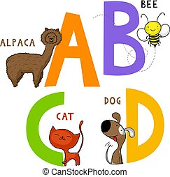 Animal Alphabet A, B, C and D