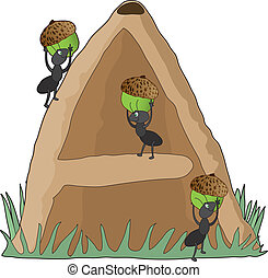 Animal Alphabet A - Ants carrying acorns into an anthill in...