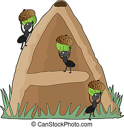 Animal Alphabet Anthill - Ants carrying acorns into an...