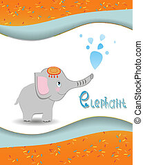 Animal alphabet elephant with a colored background
