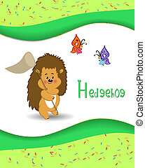 Animal alphabet hedgehog with a colored background