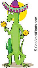 Animal Alphabet I - An iguana holding maracas and wearing a ...