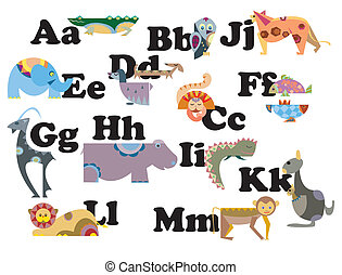 Illustration of alphabet by animal character