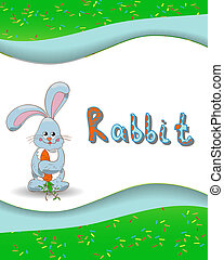 Animal alphabet letter R and rabbit