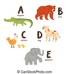 Animal alphabet letters a to e