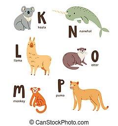 Animal alphabet letters k to p, vector illustrations set