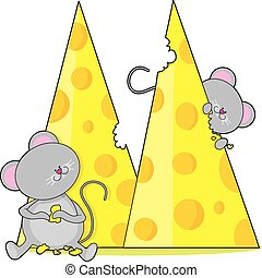 Animal Alphabet Mice - Two mice eating some swiss cheese....