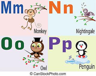 Animal alphabet M,N,O,P.