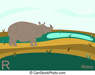 Animal alphabet, R for rhino