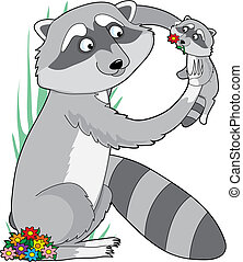 Animal Alphabet Raccoon - A raccoon holding it\'s baby in...