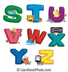 animal alphabet S to Z