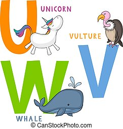 Animal Alphabet U, V and W