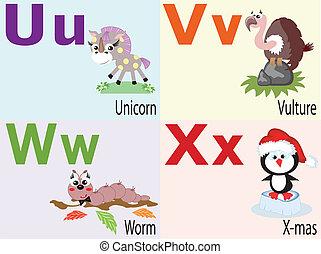Animal alphabet U ,V ,W ,X .
