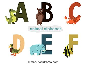 animal alphabet. vector. illustration for children's books with letters and animals on a white background