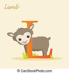 Animal alphabet with lamb