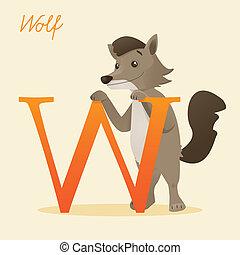 Animal alphabet with wolf